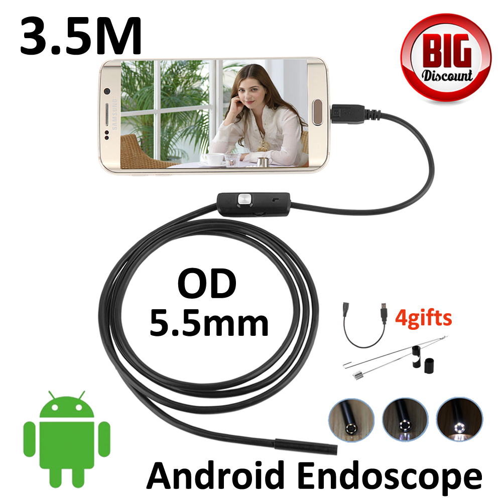 5.5mm Android OTG USB Endoscope Camera 3.5M Flexible Snake Tube Inspection Smart Android Phone OTG USB Borescope Camera 6LED diameter 17mm camera head with flexible tube for av handheld endoscope