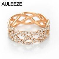 AULEEZE волна 0.96ctw настоящий бриллиант кольца с символом вечности Solid 18 к розовое золото бриллиантовое обручальное кольцо для женщин ювелирные