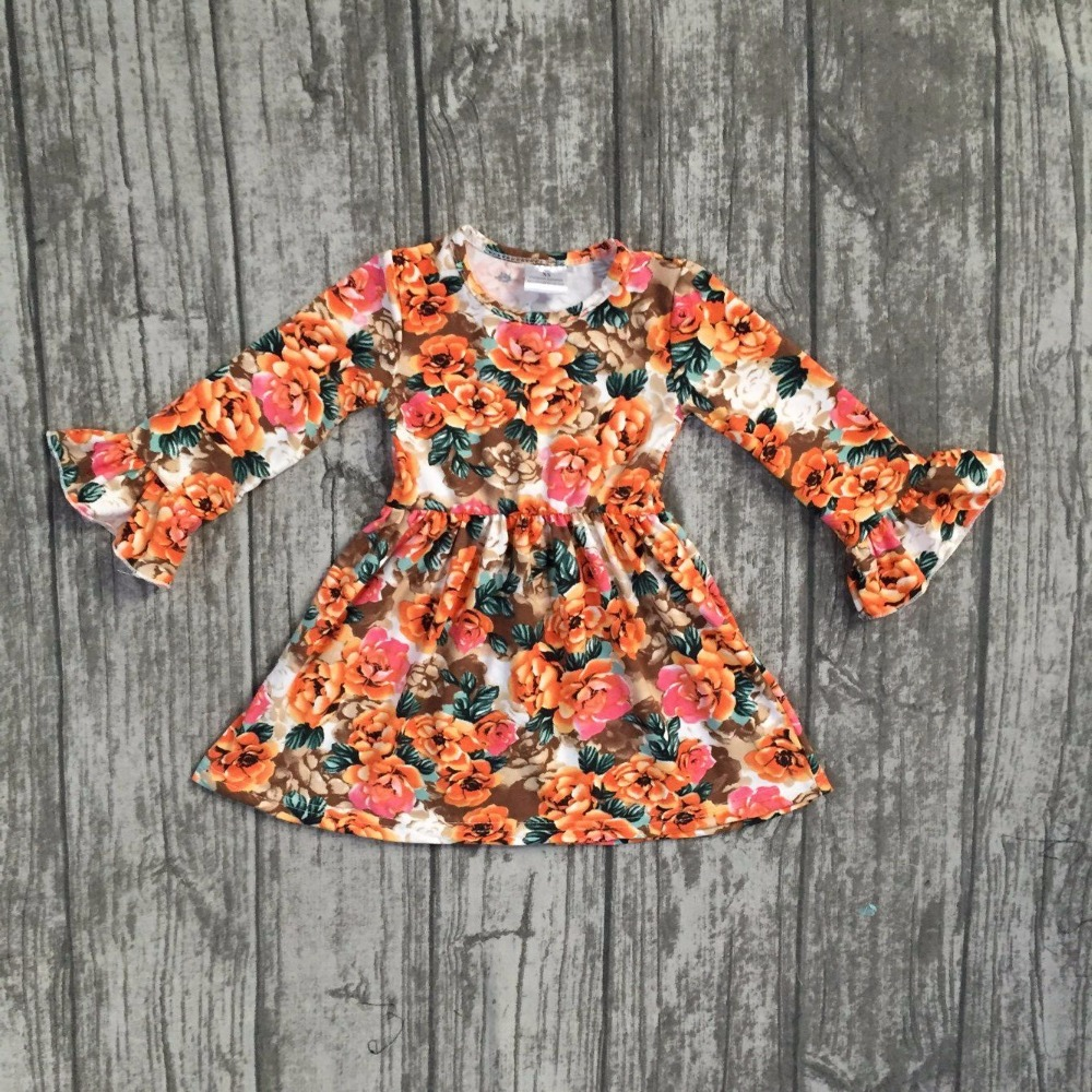 new fall/winter baby girls milk silk soft cotton dress orange floral flower print ruffle long sleeve children clothes boutique ruffle embellished flower print cami jumpsuit
