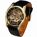 ПОБЕДИТЕЛЬ мужская Золотой Автоматические Часы Кожаный Ремешок мужская Механические Наручные Часы Римские цифры Скелет Часы Подарок Для Мужчин
