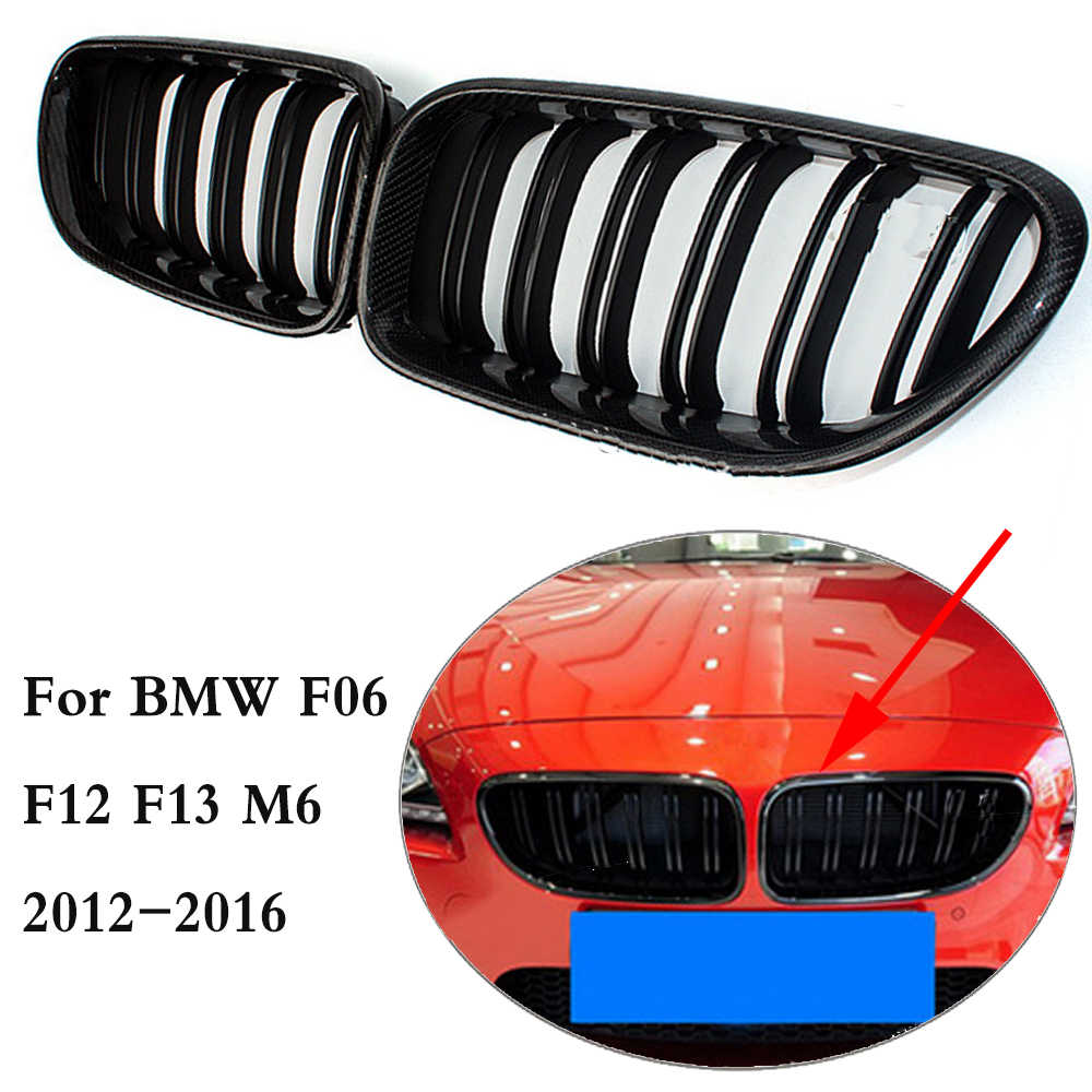 6 Series For F06 F12 F13 Carbon Fiber ABS Grill Kidney Front Bumper Grille Replace Grill for BMW M6 Grand Tourer 640i 2012-2016