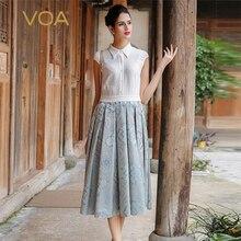 VOA Silk White Office Dresses Women A-Line Jacquard T-Shirts Dress Draoed Mid-Calf Turn-Down Collar Vestido Female A7525