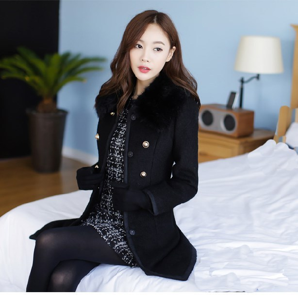 Autumn Winter Office Lady Faux Fur Collar Slim Wool Blends Coat Causal Button Double-Breasted Woolen Coat Long Sleeve Jacket