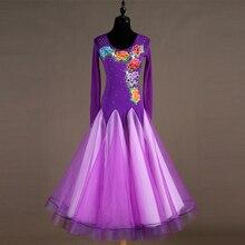 купить purple Ballroom Dance Dresses Women's Performance Spandex Embroidery / Split Joint / Crystals / Rhinestones Long Sleeve Dress дешево