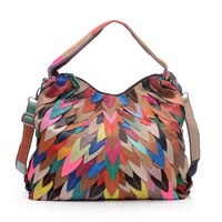 ICEV New Fashion Genuine Leather Handbags Patchwork Women Leather Handbags Sheepskin Ladies Big Totes Organizer Bolsa