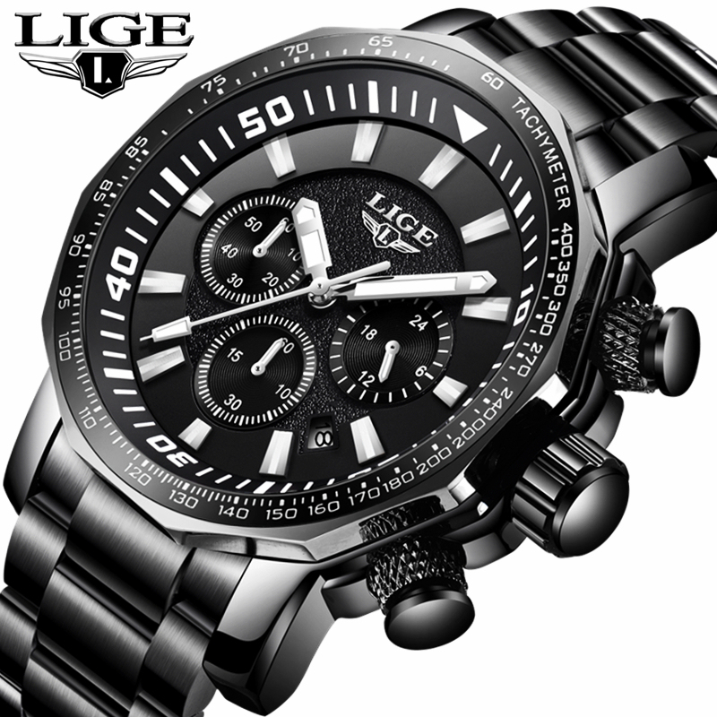 2018 Mens Watch Brand LIGE Luxury Jewelry Big Alloy Dial Military Men Sports Black Watches Waterproof Full Steel Business Watch