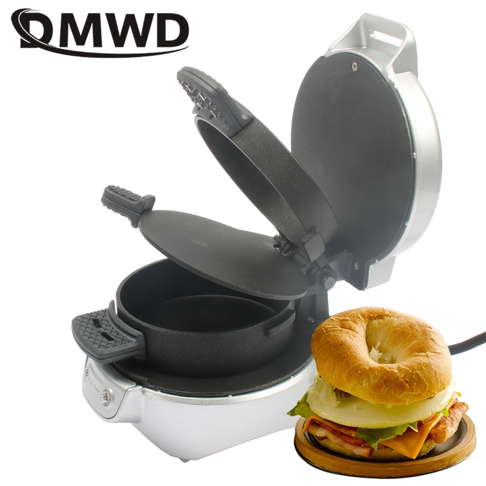DMWD Electric Sandwich Hamburger Maker Patty Maker Egg Roaster Machine Baking Crepe Frying Pan Bread Steak Grill For Breakfast