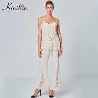 Kinikiss Women Apricot Elegant Suit Lace 2 Piece Set Camisole Top Bell Bottom Trousers With Belt