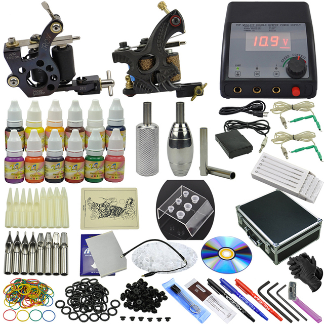OPHIR 355pcs/set Complete 2 Tattoo Machine Guns 12 Color Tattoo Inks Pigment Grip Needle & Nozzle Body Art Set #TA075