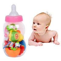 Free Shipping 8pcs Set Cute Gift Educational Toys Bottle Baby Rattles Combination Baby Hand Bell Set