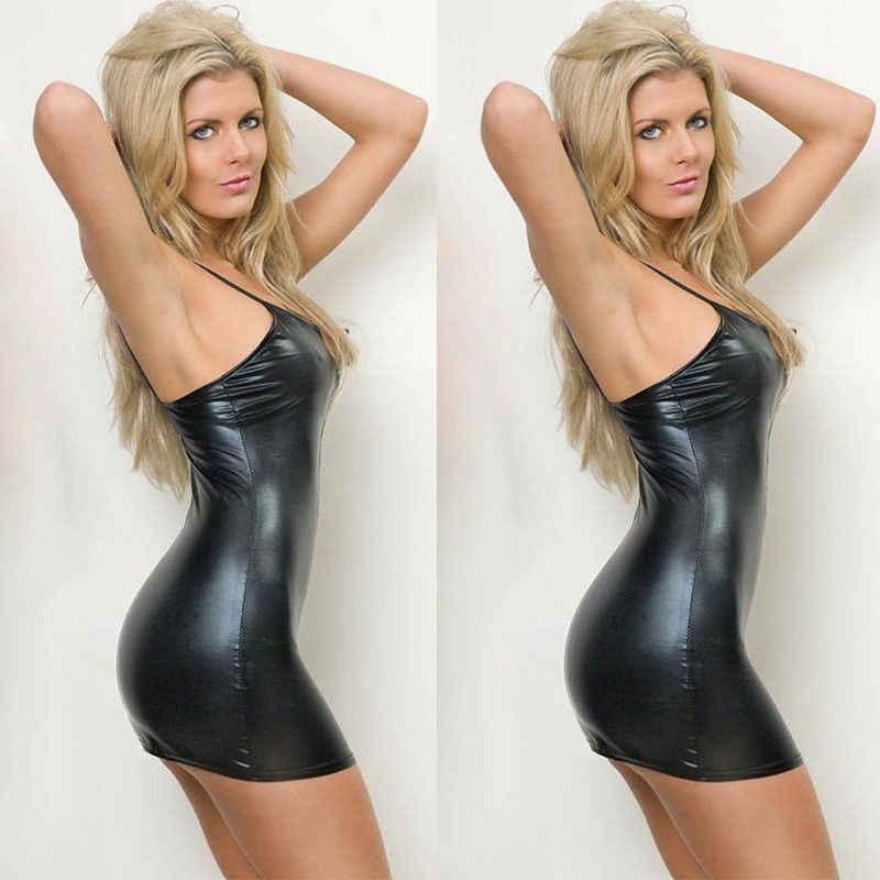ผู้หญิง PVC หนัง Bodycon ชุดมินิสั้น Sexy Wet Look คลับ PU Zip Up ชุดราตรีชุดราตรี Sundress