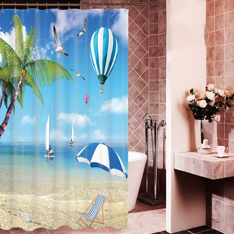 1800x1800mm Customized blue ocean bathroom shower curtain waterproof thickening mold seagull curtain partition curtain curtain-2