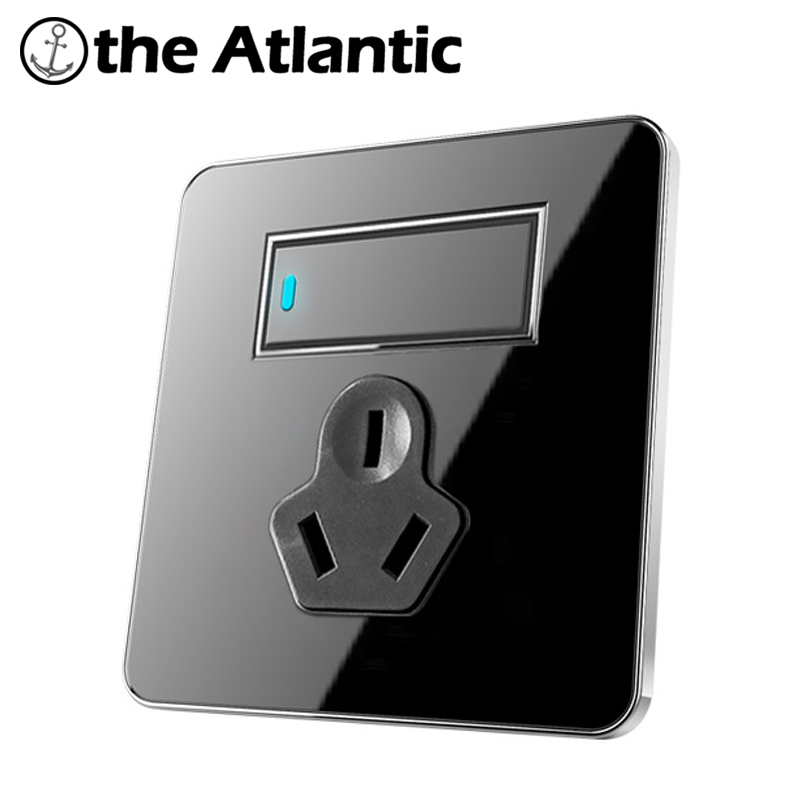 Atlantic 1 Gang 1 Way Free Click Push Button Wall Light Switch With LED Indicator 16A 3 Pin hole Socket Acrylic Crystal Panel atlantic brand double tel socket luxury wall telephone outlet acrylic crystal mirror panel electrical jack