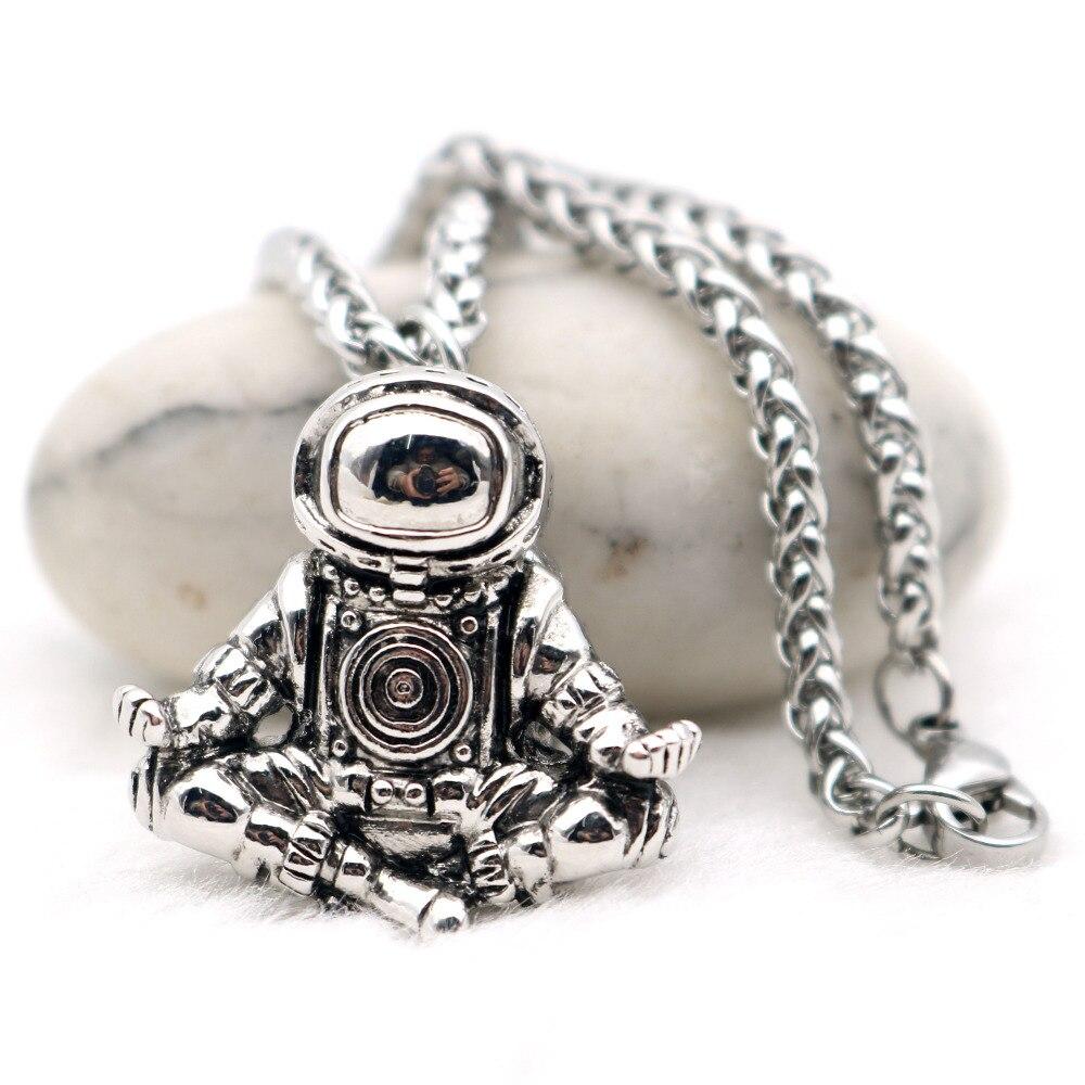 Astronauta colgante collar Galaxy universo del espacio de meditación anillo Retro Cadena de acero inoxidable, collar para hombres,