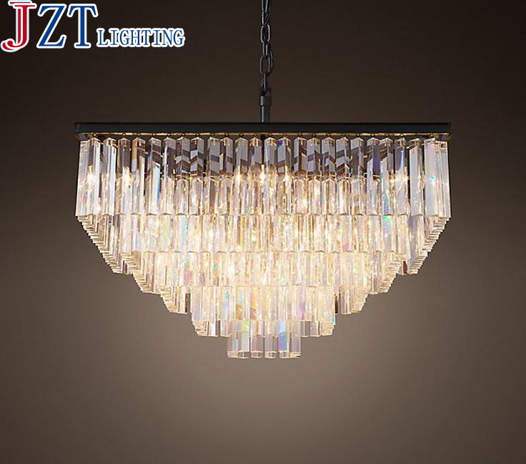 T American style Crystal Pendant Light For Living Room Home Dining Room Hotel Creative Retro Iron Lamp E14 LED bulb