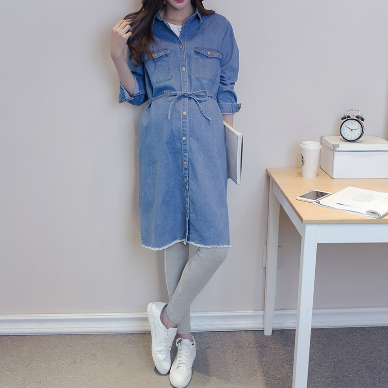2018 New summer Maternity Dresses long Maternidade Pregnancy Clothing Pregnant woman with jeans Dress Clothes For Pregnant Women envsoll maternity wide leg jeans pants for pregnant women pregnancy prop belly pants maternity loose overalls straight clothes