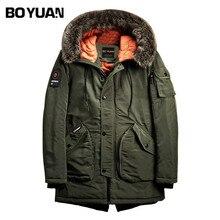BOYUAN Mens Winter Jackets Men Parka Fur Hooded Jackets Thick Long Casual Warm Coat 2017 Winter Jacket Men Solid Parkas DSW2520