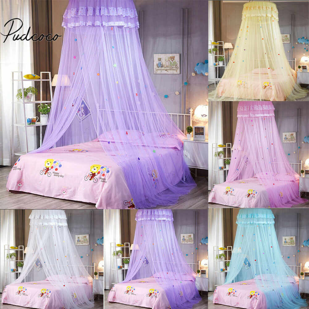 2019 Lace Ruffled Crib Netting Kids White Satin Crown Mosquito Net Bed Single Double King  Insect Fly Canopy Bedding Accessories