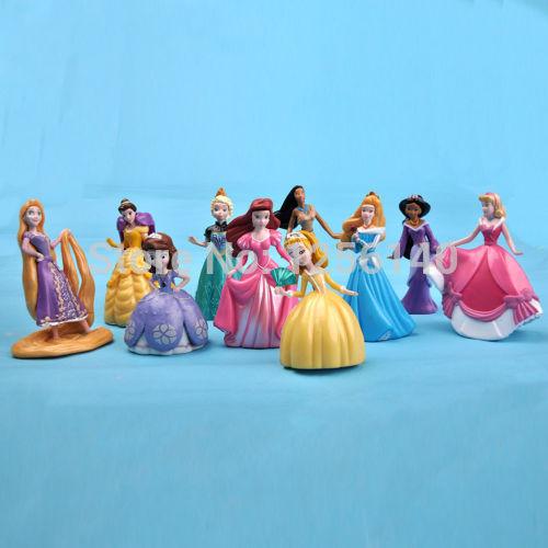 10 pcs Set/Lote Princesa Rapunzel Sofia Ariel Figuras de Brinquedo/Bolo Topper
