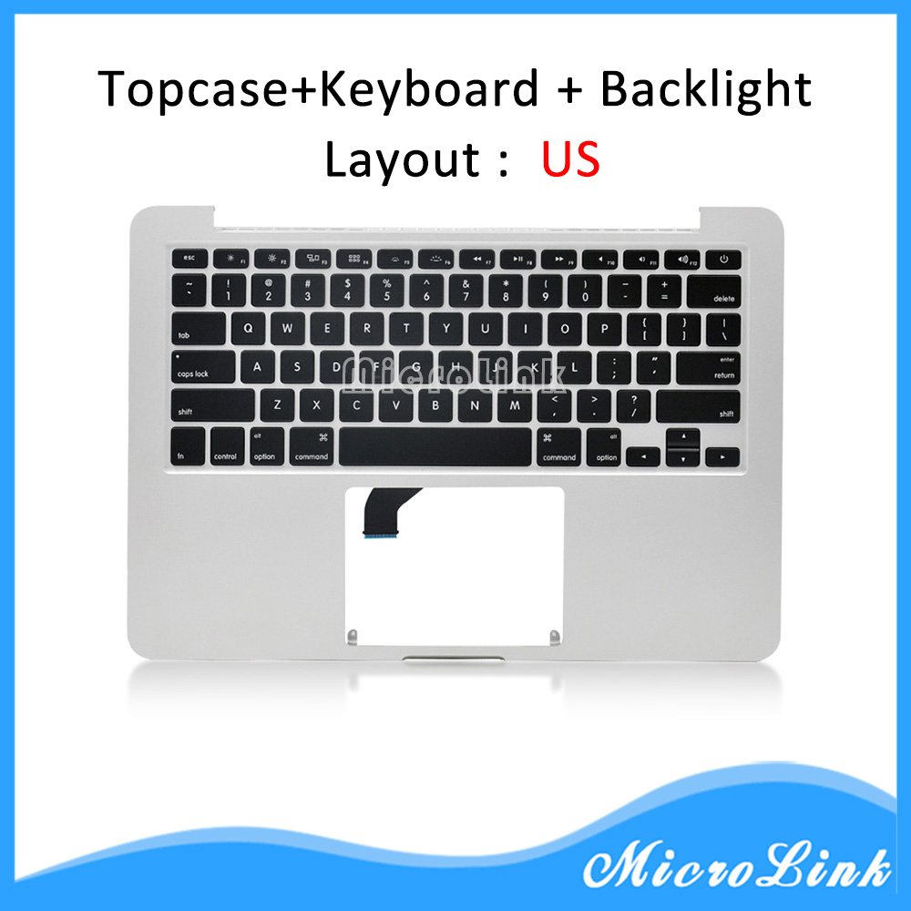 New Topcase for Macbook Pro Retina 13 A1502 top case with US keyboard Year 2015 original new topcase 11 6 for macbook air a1370 a1465 palmrest top case with us keyboard backlight no touchpad 2013 2015
