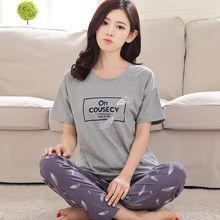 Traje de Pijama de manga corta de primavera para mujer ropa de hogar encantadora Modal para señoras cuello redondo ropa de salón Pijama para niñas ropa de dormir Casual
