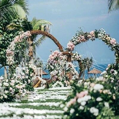 De mariage prop anneau en métal plateau fleur artificielle mur cercle stand porte de mariage décor de fond en métal arc 4 tailles fleur stand