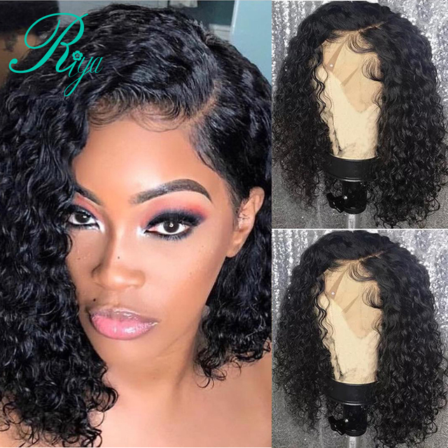 Riya Short Curly Lace Front Human Hair Wigs Pre Plucked With Baby Hair Brazilian Remy Hair Bob Lace Front Wigs For Black Women
