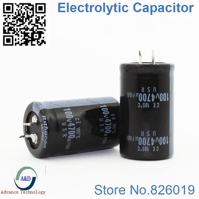 6pcs/lot 100V 4700UF Radial DIP Aluminum Electrolytic Capacitors Size 30*50 4700UF 100V Tolerance 20%