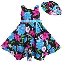 Sunny Fashion שמלות לילדות 2 פץ כובע כחול פרח קיץ החוף מפלגה ריקוד