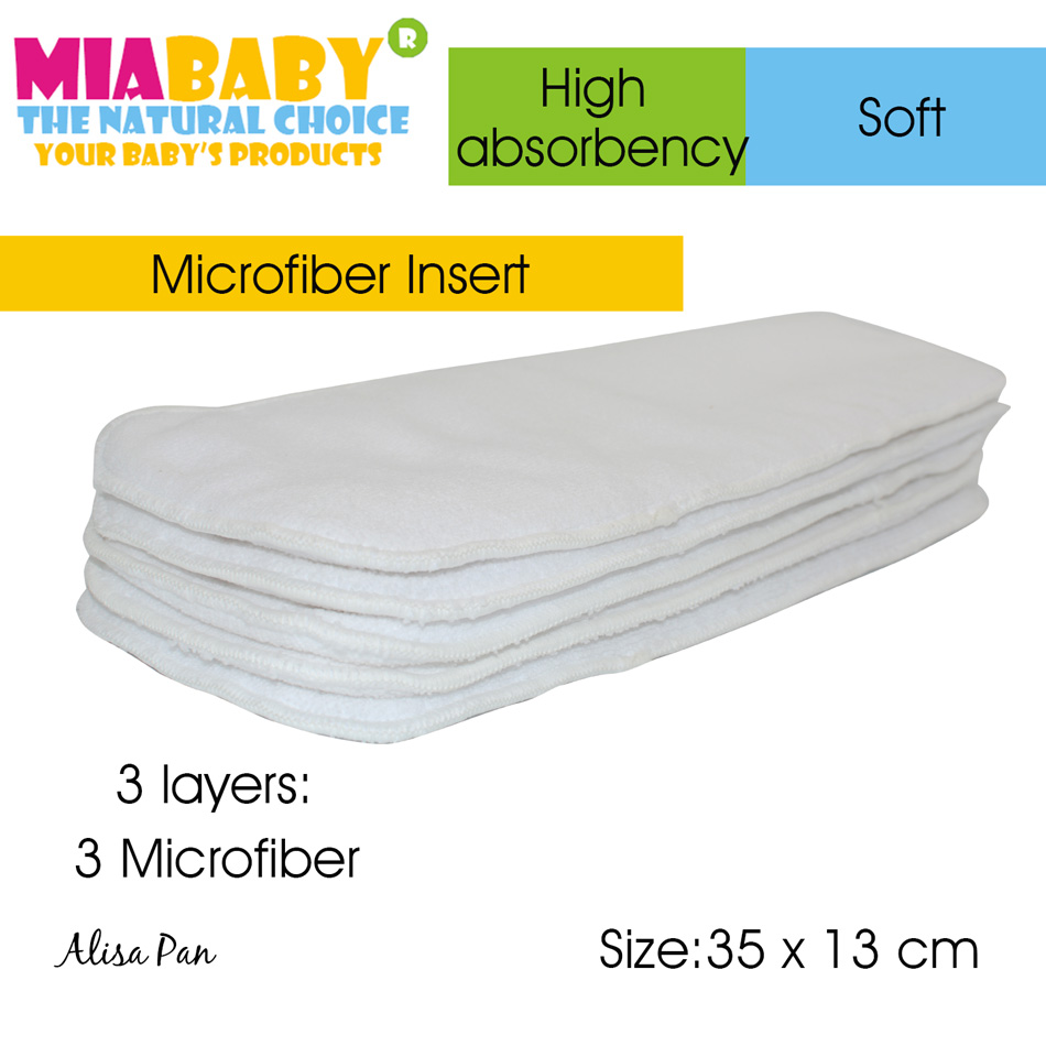 Microfiber Diaper Insert, Nappy pad, Nappy Booster for all Miababy Onesize Diaper cover, Pocket diaper,35cm x13cm 3 layers