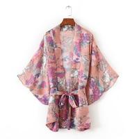 JOYINPARTY kimono cardigan Loose Floral Print Long Shirt With Belt 2018 Summer Pink Women kimonos mujer