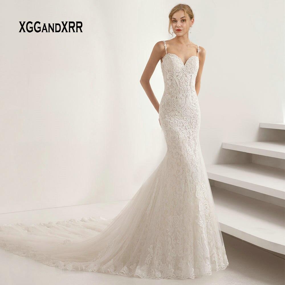 Mermaid Vestido De Noiva 2019 Wedding Dresses Sweetheart Illusion Back Lace Applique Boho Wedding Gown Bridal Dresses Plus Size