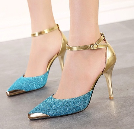 320dbe655519 Sexy Closed Toe Ankle Strap High Heels Women Strap Shoes Sandals Woman  Pointed Toe Pumps Cheap Golden Designer Strappy Stilettos