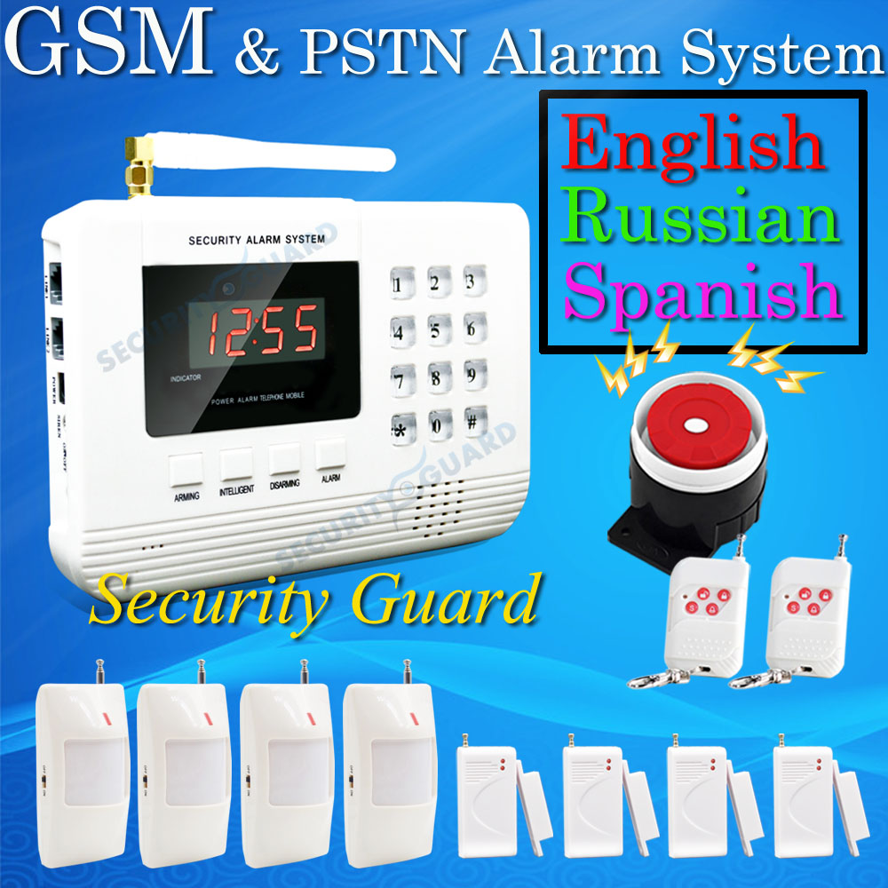 Hot Selling Free Shipping  wholesale Wireless  PSTN GSM Alarm System 433MHz  Home Burglar Security Alarm System 2-3 2015 new free shipping hot wireless gsm alarm system 433mhz most popular white wireless keyboard for home burglar security alarm