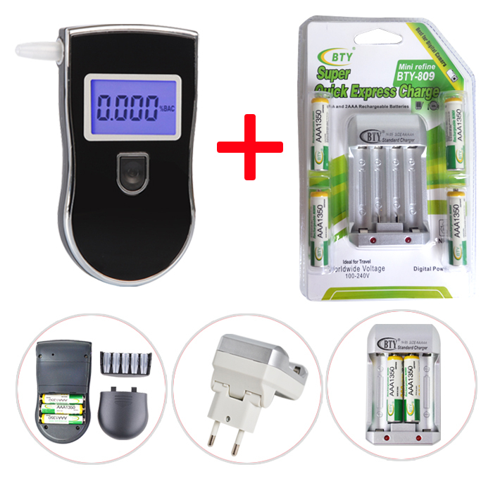 Greenwon Free shipping Patent Police Digital Breath Alcohol Tester 818 with 5pcs Mouthpieces 4 BTY 1350mah