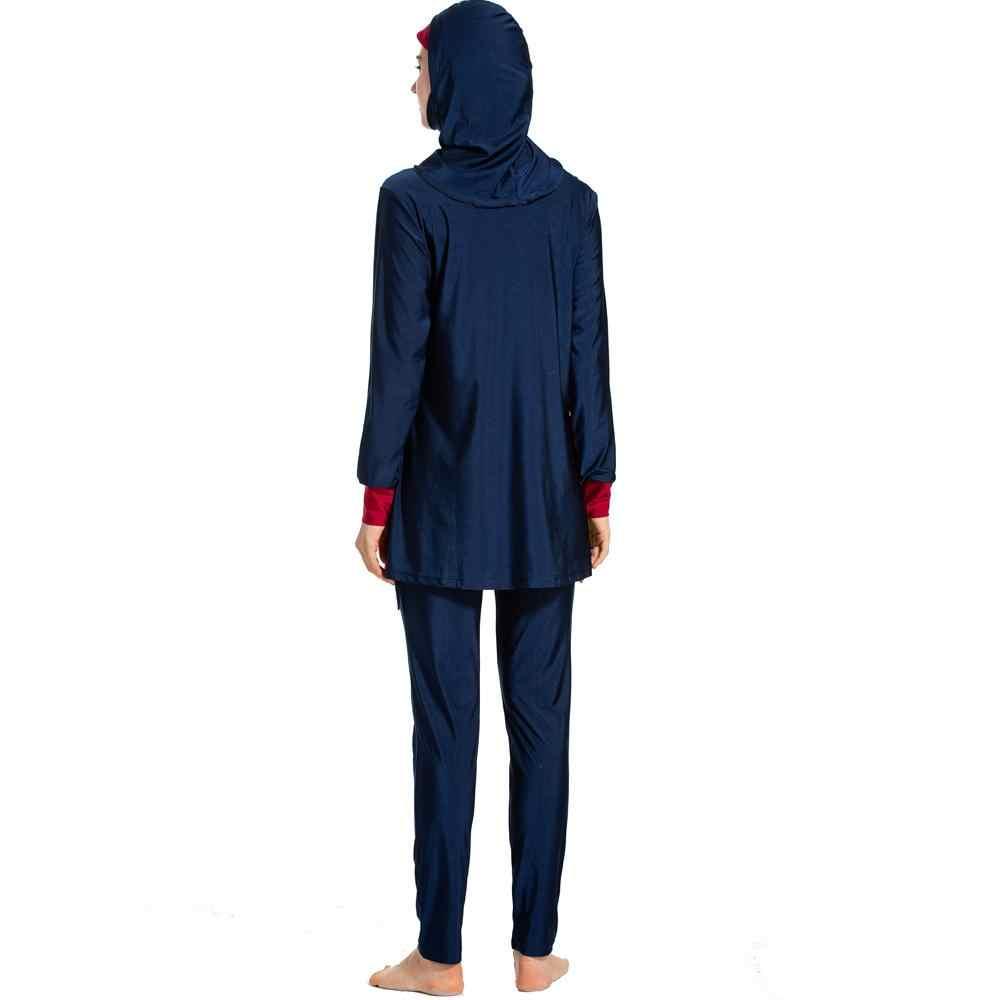 3 шт. мусульманский женский купальный костюм с хиджабом купальник с полным покрытием скромный Буркини Спортивная пляжная одежда женский мусульманский костюм арабский лоскутный консервативный