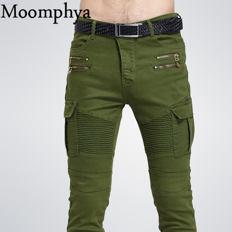 Famous Brand High Quality Luxury Men Jeans Slim Elastic Pleated Pencil Pants Pocket With Side Zip Jeans Men Denim Biker Jeans