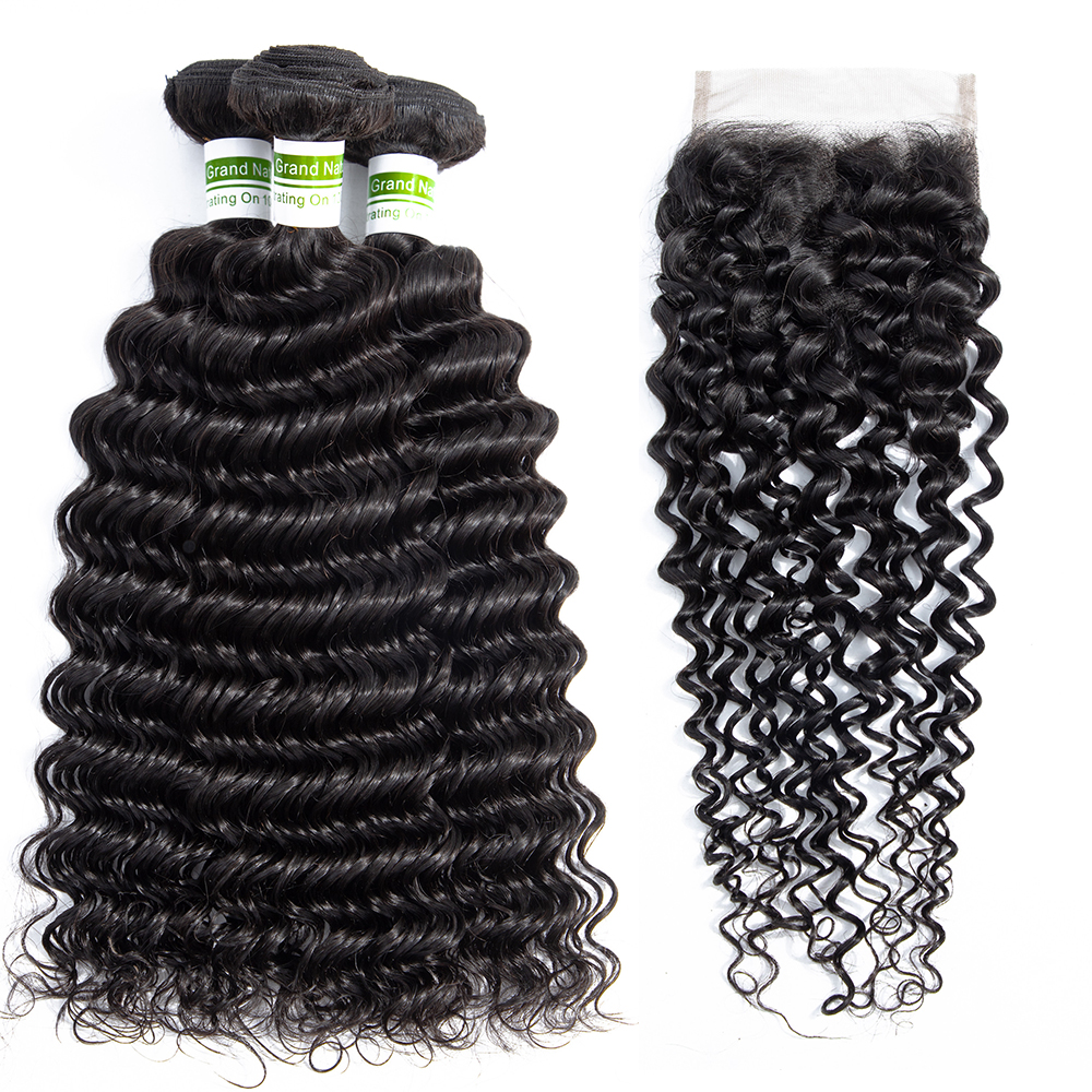 Brazilian Deep Wave Bundles With Closure Remy Human Hair 3 Bundles With Lace Closure Pineapple Wave Human Hair Extensions