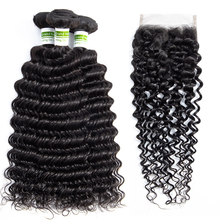 Brazilian Deep Wave Bundles With Closure Remy Human Hair 3 B