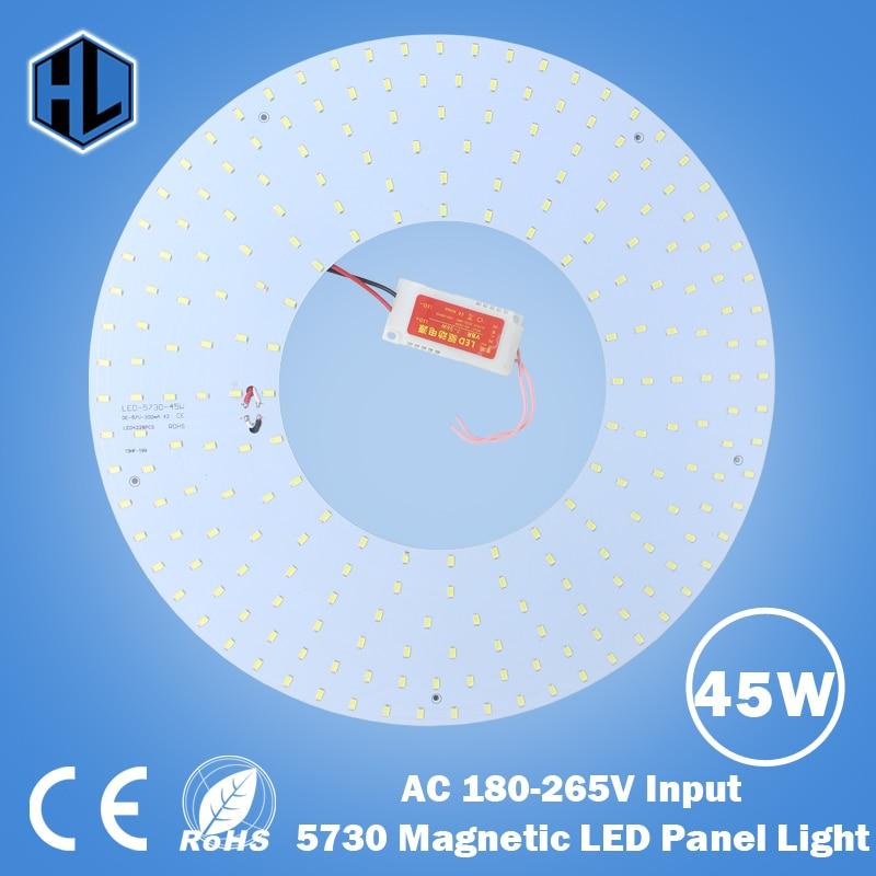 180-265V LED Lámpara de panel 5730 10W 15W 18W 20W 25W 35W 45W Cuadrado / Redondo Magnético LED Panel de techo Placa de aluminio Placa