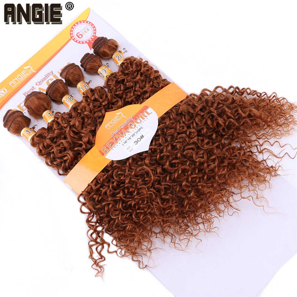 ANGIE Золотой цветной синтетический парик пучки афро кудрявые волнистые волосы для наращивания чистый цвет волоконного плетения волос