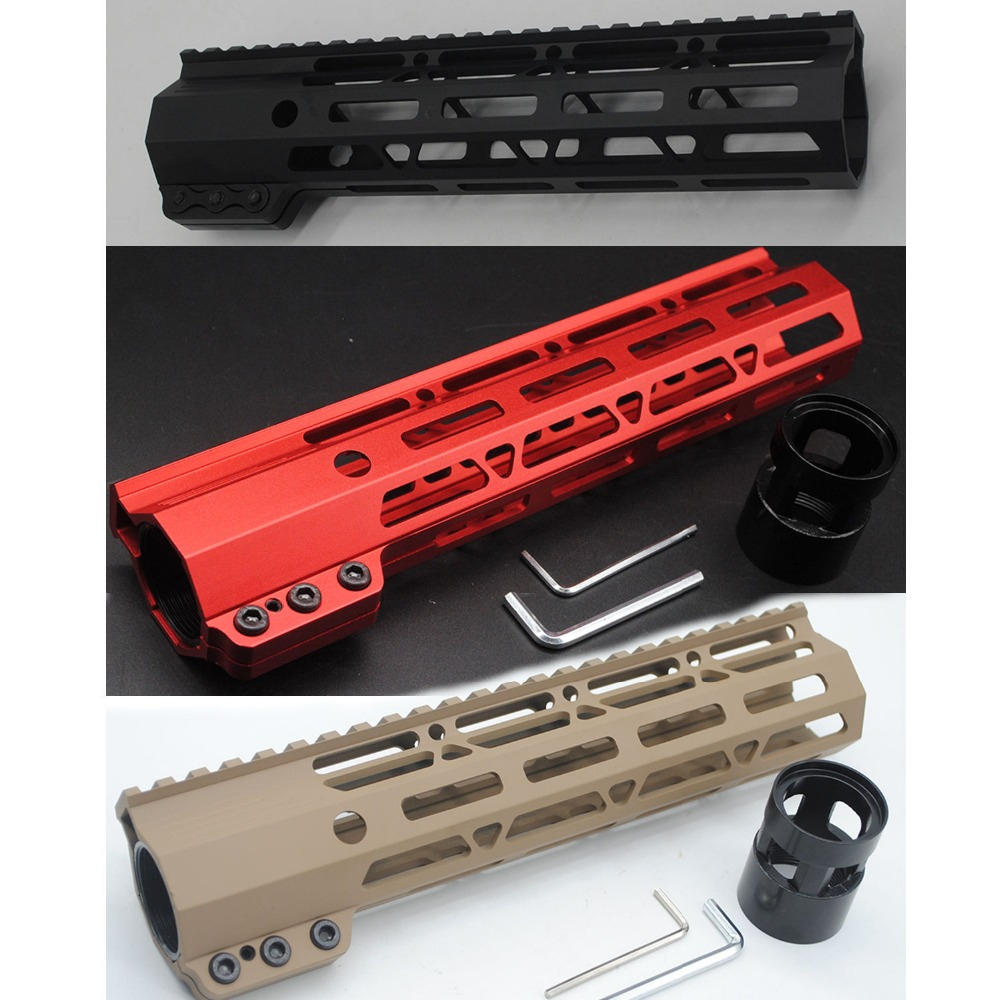 TriRock 9'' INCH BLACK/TAN/RED COLOR M-LOK CLAMPING STYLE HANDGUARD RAIL FREE FLOATING SYSTEM FREE SHIPPING
