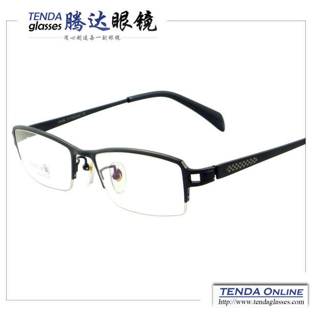Nova moda metade aro de titânio quadros de óculos para homens com lente