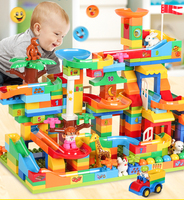 Marble Race Run Maze Ball Track Building Blocks ABS Funnel Slide Assemble Bricks Compatible LegoINGlys Duploe Blocks