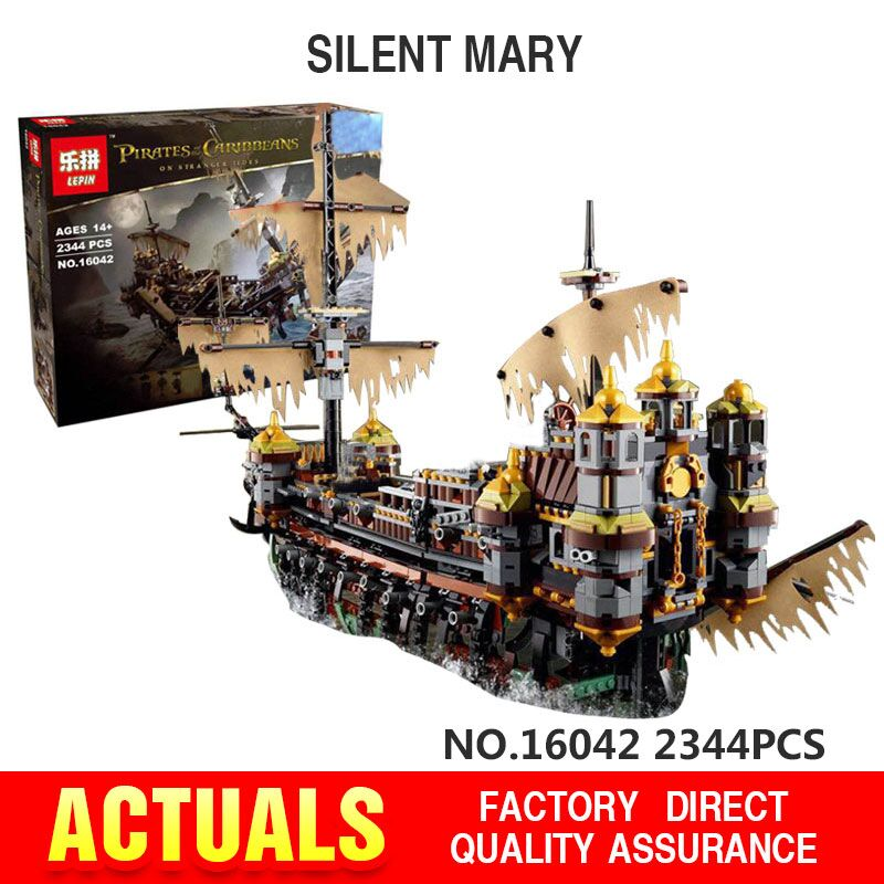 Lepin 16042  New Pirate Ship Series The Slient Mary Set Children Educational Building Blocks Bricks Toys Model funny Gifts 71042 lepin 16002 22001 16042 pirate ship metal beard s sea cow model building kits blocks bricks toys compatible with 70810