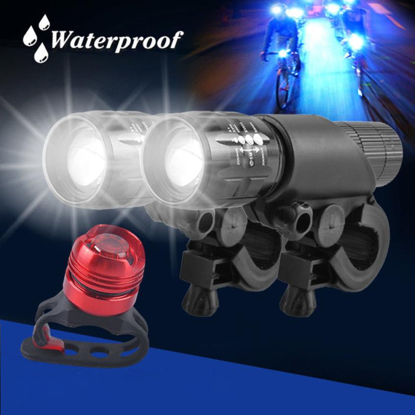 2x Q5 LED Mountain Bike Bicycle Cycle Head Front Light + Al alloy Rear Lights Set Waterproof Ruber Ring Durable 3D Len 18650 P60 d09 aluminum alloy bicycle cnc front fork washer blue white 28 6mm