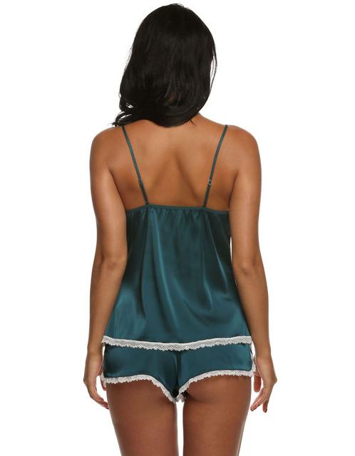2017 pajamas sets summer style Women Female Sleep set Women's Deep V-neck Sexy Spaghetti Strap Shorts Sleepwear silk homewear