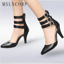 Size 34-43 Fashion Summer Gladiator Sandals Boots Women Thin High Heels Party Pumps Sexy Pointed Toe Ankle Buckle Wedding Shoes