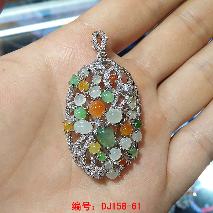 Burma's natural A cargo ice filled with green eggs ring face inlaid stone pendant for women/2 green eggs