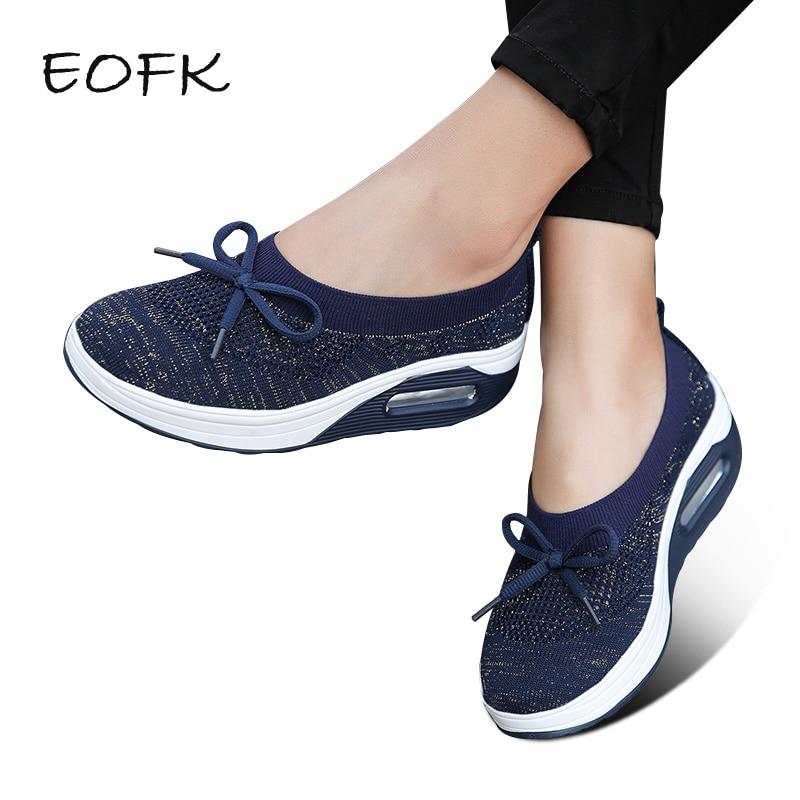 Eofk Women Flat Platform Shoes Woman Memory Foam Insoles Butterfly